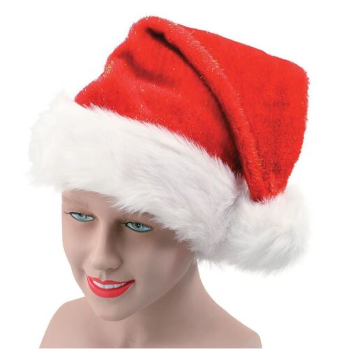 1 X Red Glitter Santa Father Christmas Hat Fancy Dress Party Costume Accessory