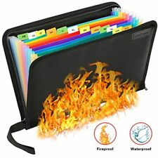 Fireproof File Folder Waterproof Organizer 13 Pockets Proof Resistant Document