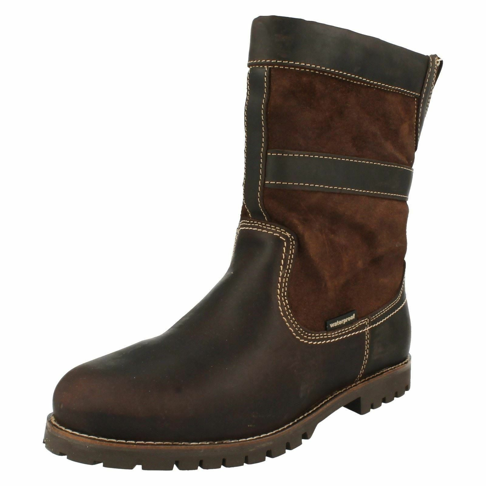 Mens Human Nature Brown Leather Waterproof Fleece Lined Pull Boots On Boots Pull PATRIC 0b6136