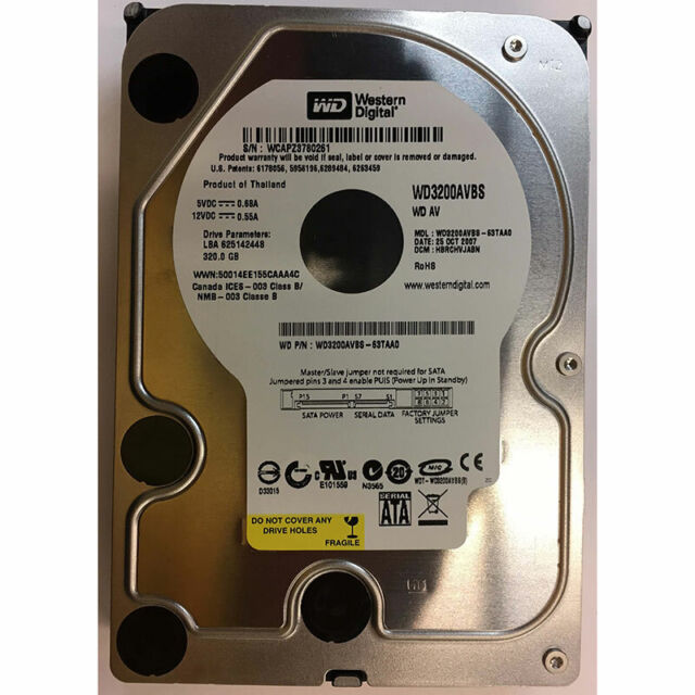 Western Digital 320GB, 7200RPM, SATA - WD3200AVBS-63TAA0