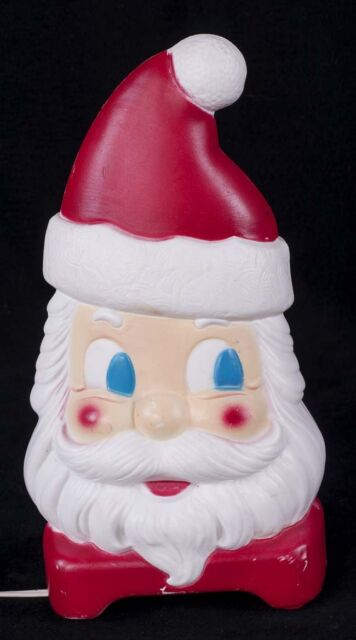 """Empire Blow Mold 2 Sided Santa Face 12"""" Christmas Light Display SEE VIDEO"""