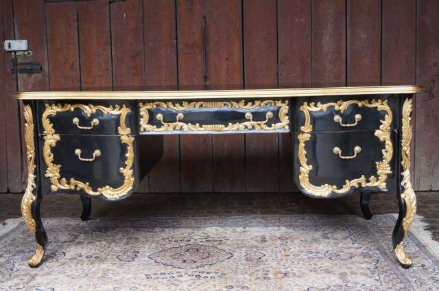 Magnifique bureau 180cm double face style baroque noir et dorÉ À la