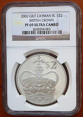 Coins 2002 Cayman Islands $2 Silver Proof Gold Plated Ngc Pf69 Uc British Crown Rare North & Central America