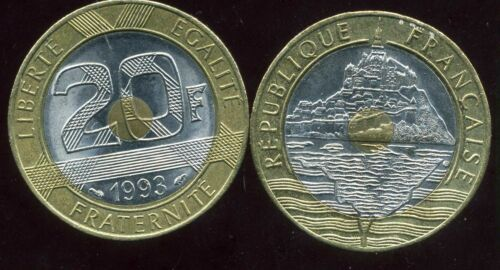 FRANCE FRENCH 20 francs MONT ST MICHEL 1993 ca