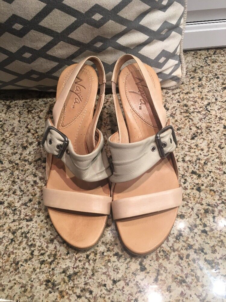Naya Women's Alamosa Nude Leather Strappy Pump Heels 8 1 2 Anthropologie
