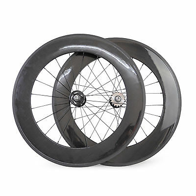88mm clincher carbon track bike wheelset fixed gear single speed bicycle wheels