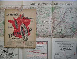 1928-Dunlop-Map-Carte-Officielle-de-l-039-Armee-Les-Chateaux-de-la-Loire