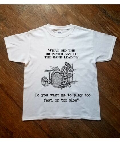 Kids Printed T Shirt Drummer Joke Rock Drum Guitar Music Funny Gift Present Boys