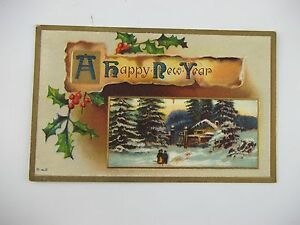Vintage-HAPPY-NEW-YEAR-Embossed-NOVELTY-POSTCARD-c-1911-Dunbar-PA