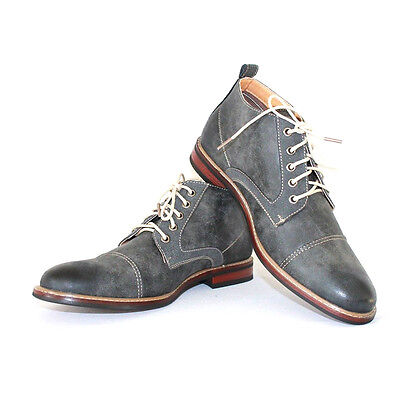 Men's Grey Ferro Aldo Ankle Boots Cap Toe Suede / Leather Lace Up NEW 506013