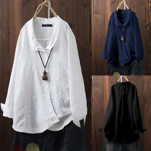 ZANZEA-Femme-Chemise-Manche-Longue-100-coton-Boutons-Loisir-Haut-Shirt-Plus