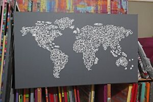 Weltkarte-Abstrakt-Gemaelde-Unikat-Acryl-Bilder-Handmade