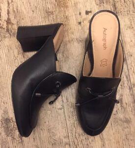 Stylish-M-amp-S-AUTOGRAPH-Slip-On-Block-Heel-Mules-Black-Leather-Shoes-UK-3-5