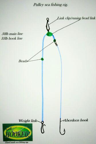 4 X Sea fishing pulley No 4//0 Aberdeen hooks