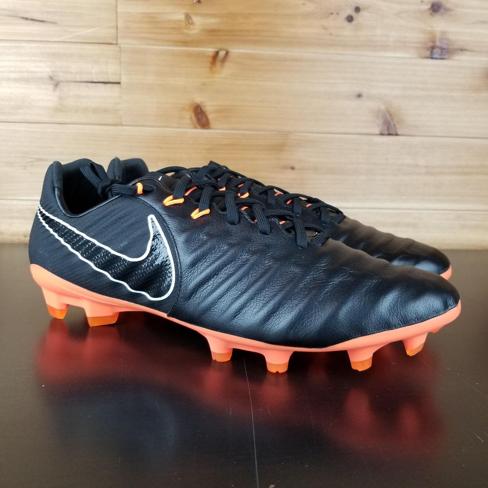 Nike Tiempo Legend VII 7 Pro FG Leather Soccer Cleats Black Orange AH7241-080 NB