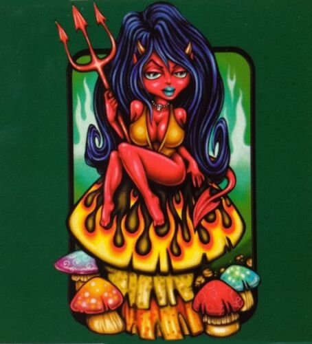 Diabla Devil Woman Flaming Mushroom Devilgirl Pinup Girl Sticker - Modern car decal sticker girl