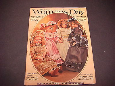 Woman's Day Magazine,Jan 1965,Irish Crochet Blouses,Chocolate Cook Bk,New Figure