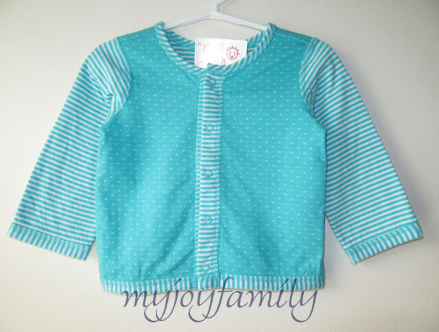 HANNA ANDERSSON Two Reversible Snap Cardigan Jacket Sweater Blue 50 0-6 mos NWT