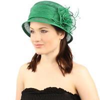 Summer Fancy 1920s Flapper Sinamay Trio Floral Cloche Bucket Church Hat Green