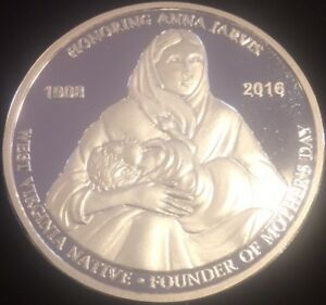 Mother-039-s-Day-Coin-Honoring-Anna-Jarvis-1-oz-999-Fine-Silver