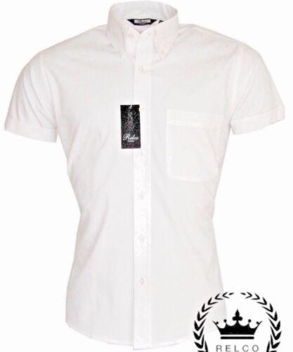 BIANCO Oxford Manica Corta classico Relco leggermente Aderente Camicia Di Cotone 100/%