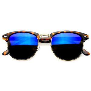 Image is loading Premium-Half-Frame-Horn-Rimmed-Sunglasses-Metal-Rivets- 7d53e04c17
