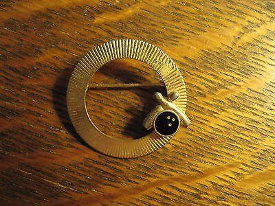 Bowler Vintage 1960's Women's Bowling Lane Lounge Gold Lapel Scarf Brooch Pin