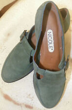 """VINTAGE NICOLE """"BLAINE"""" SZ 8 GREEN SUEDE 80S SHOES LOAFERS HIPSTERS little wear"""