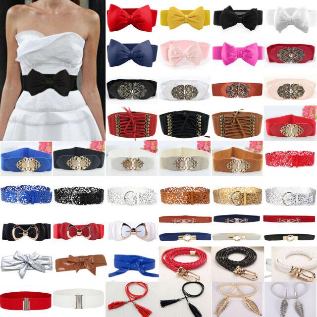 Women Laies Fashion Narrow Skinny Thin Patent Leather Buckle Waist Belt TK