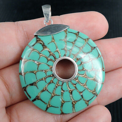 Round RESIN /& SHELL 925 Sterling Silver Pendant Jewellery SPIDER SHELL