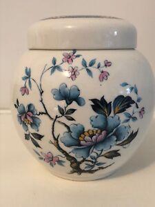 Vintage-Sadler-England-Blue-Floral-Ginger-Jar-Oriental-Lotus-blossom-VGC