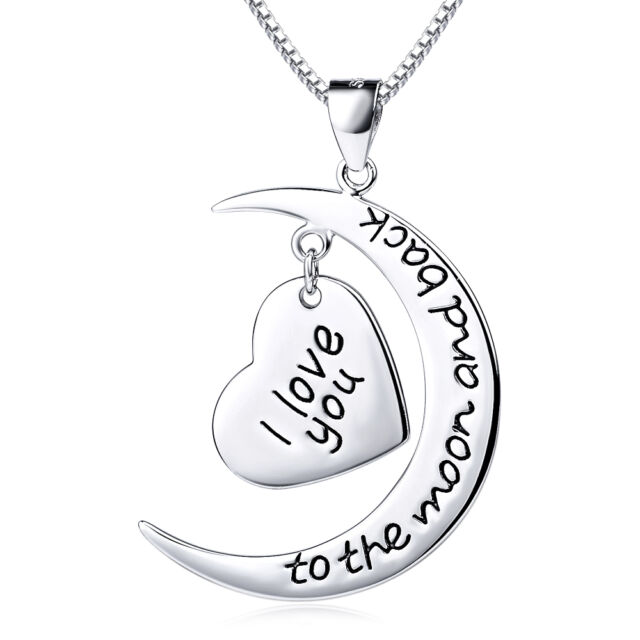 Engrave Love U To The Moon Message Charm Pendant Necklace 925 Sterling Silver GP