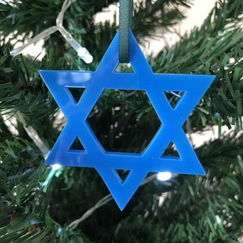 Large Star of David Christmas Tree Decorations Pack 4 x 14cm Various Colours