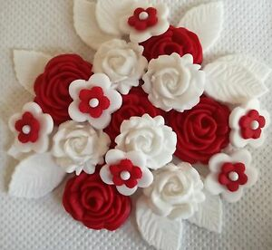 Image Is Loading RED WHITE ROSE BOUQUET Edible Sugar Flowers Wedding