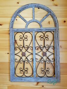 Attirant Image Is Loading Distressed Shabby Rustic Wood Metal Scroll Garden Gate