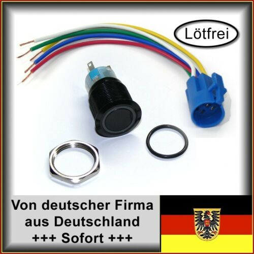 Kabel SW Druckschalter 22mm LED weiß für Wohnwagen Boot Metalltaster m