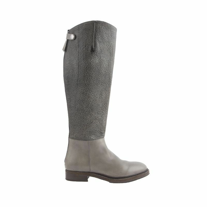 51996 Auth BRUNELLO CUCINELLI Cuero gris Dos Tonos Plano botas De Montar Zapatos 37
