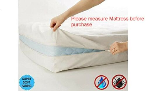 """Mattress Cover Deep Pocket Fits Up to 16/"""" Zipper Protects From Bed Bugs Fabric"""
