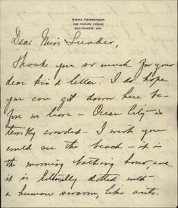 Baltimore Maryland (MD) Letter Emma Hemberger Mr. Luader
