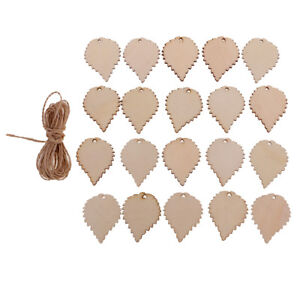 20pcs People Shaped Wooden Tags Laser Cut Crafts Hanging Decor with String