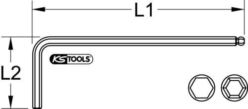 KS TOOLS Kugelkopf-Innensechskant-Winkelstiftschlüssel phosphatiert 5mm lang