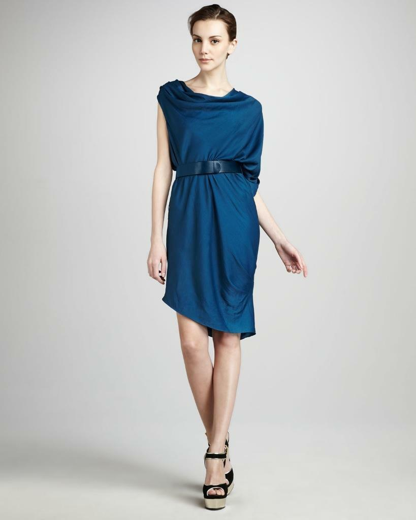 a0140bcd1f5 Halston Draped One Sleeve Belted Ocean NEW MSE0500104 Mini Short Heritage  Dress ndwubh7941-Dresses