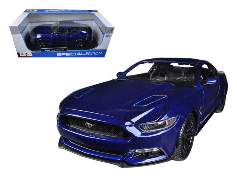 2015 ford mustang gt 5,0 blaue 1,18 detaillierte druckguss auto - modell von maisto 31197bl