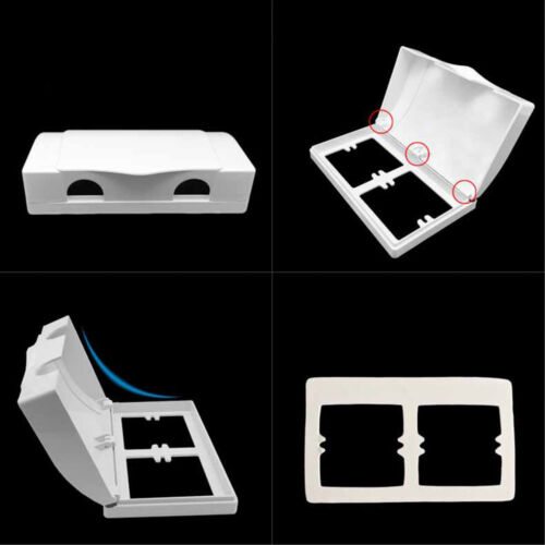White Double Socket Protector Electric Plug Cover Baby Child Safety Box #HA2