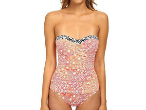123009278f5 Image is loading Tommy-Bahama-One-Piece-SwimSuit-Coral-Medallion-Shirred-