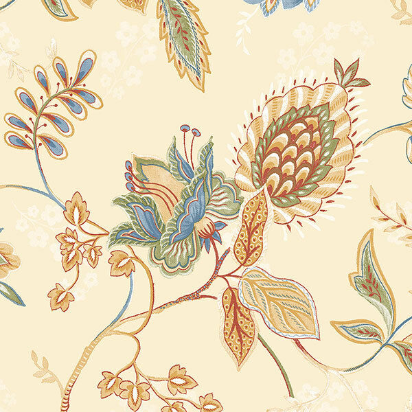 Norwall Grand Chateau Gc29831 Jacobean Floral Wallpaper Blue Ochre Red Green