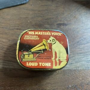 Vintage Gramophone Needle Tin His Master's Voice  Loud Tone Nadeldose HMV10