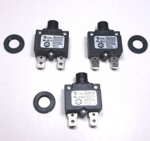 3 Carling Brand Push to Reset Panel Mount 15 amp Circuit Breakers