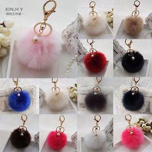 Charm Key Ring Rabbit Fur Ball PomPom Cell Phone Car Keychain ... 008035c73dcfe