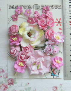 PINK-amp-IVORY-9-Styles-25-Paper-Flowers-Roses-amp-Blossoms-15-50mm-VD2